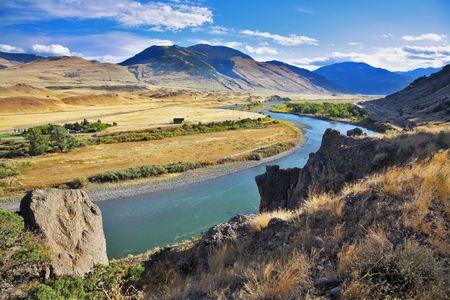 The picturesque American river Missouri in the autumn Stock Photo