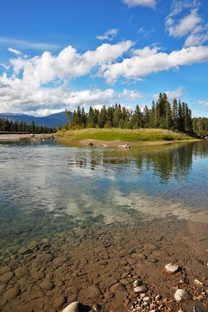 The shallow river drying up by autumn in Yellowstone park photo