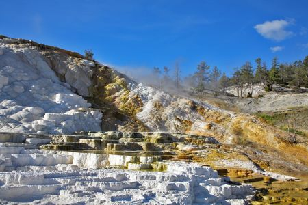 calcareous: The well-known calcareous formations travertine in Yellowstone park