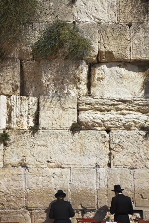 The religious Jews, praying at the Western wall of the Jerusalem temple Stock Photo - 6358267
