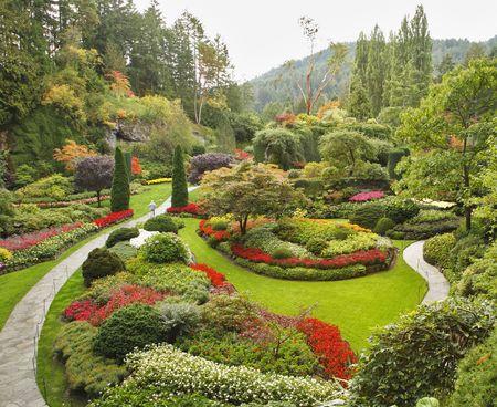 garden lawn: Masterpiece of landscape gardening art - Sunken-garden on island Vancouver Stock Photo