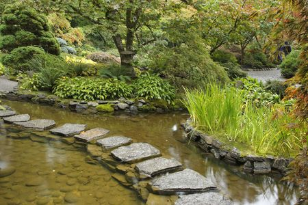 Traditional Japanese garden. A stream and a decorative path from stones photo