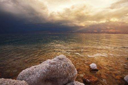 grandiose: Grandiose spring thunder-storm on the Dead Sea