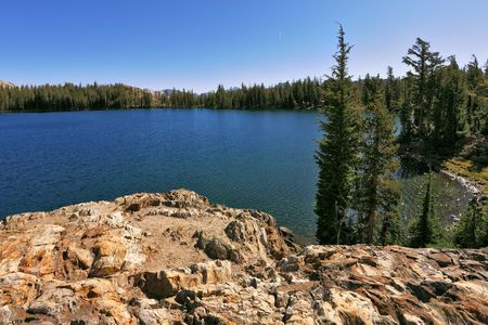 Bright dark blue May lake in mountains Yosemite park in the USA Stock Photo - 6769839