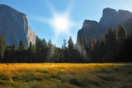 grandiose: Grandiose landscape in a valley world-wide well-known Yosemite park. Sunrise, autumn Stock Photo