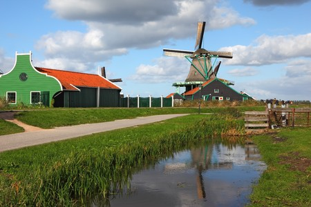 A charming old windmill in the Dutch village museum photo
