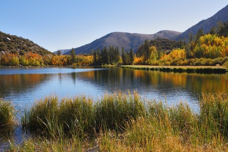 Beautiful the North lake in California the USA. Warm solar autumn day photo