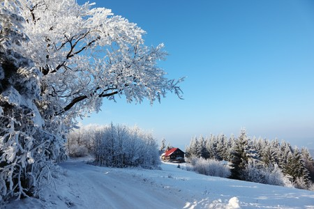 Winter morning in the mountains. Snow-covered road and a small country house in the distance photo