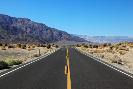 There, straight and beautiful road in the California desert  Death Valley photo