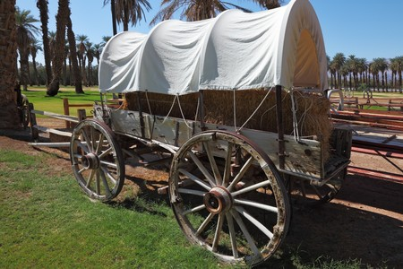 Museum open-air. Ancient vehicle of the first settlers in an oasis in Death Valley photo