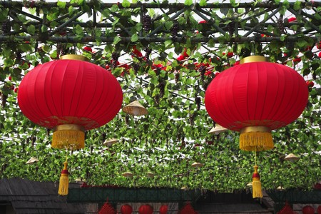 The traditional red lanterns decorating the Chinese park of entertainments in New year photo