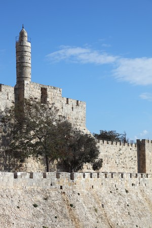Grandiose walls of Jerusalem and the Tower of David Stock Photo - 8040688