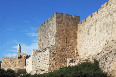 grandiose: Grandiose walls of Jerusalem and the Tower of David  Stock Photo