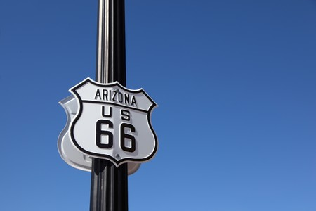 The traffic sign strengthened on a metal column, Historic route 66 photo