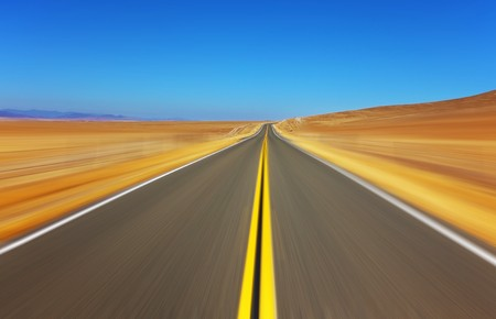 Travel on the American highway on high speed Stock Photo