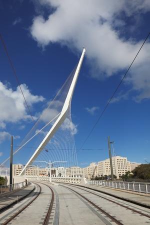 Jerusalem tram. The magnificent bridge which must pass a tram. The tram is still not built  photo