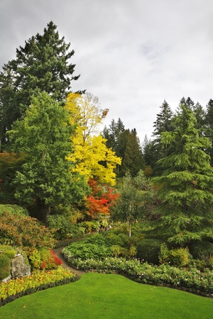 Masterpiece of landscape gardening art - Butchard -garden on island Vancouver in Canada photo