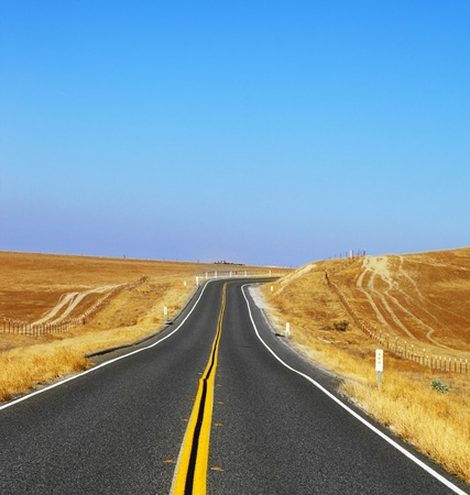 Travel to steppes of California on excellent American road photo