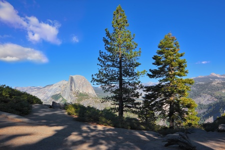 Well-known mountain top Half Doum in Yosemite national park on a sunset photo