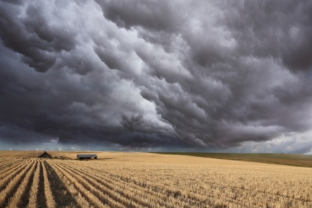 Huge thundercloud on fields of Montana photo
