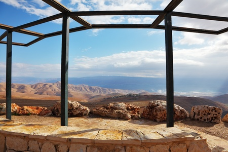 Wonderful winter day in the Judean desert. Magnificent views from the observation deck next to the road  photo