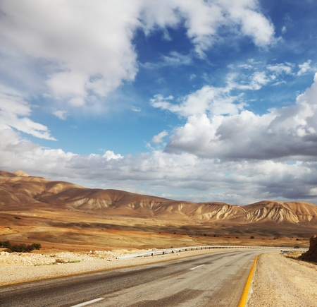 Empty road. Wonderful winter day in the Judean desert.  Stock Photo