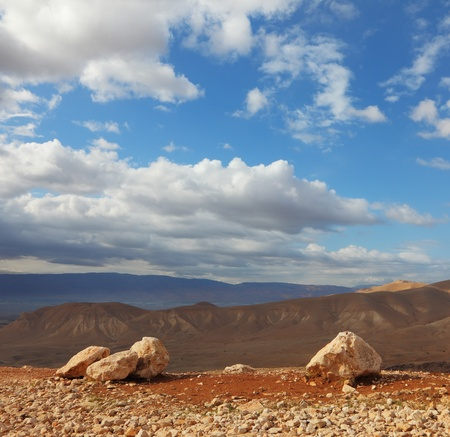 judean hills: Magnificent transparent day in Judean desert. Huge boulders along highway, an unflawed sky