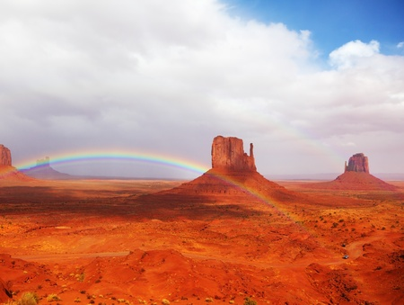 Magnificent rainbow in Monuments Valley  in reservation of Indians Navajo Stock Photo - 9062270