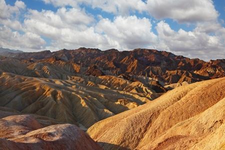 The famous section of Death Valley in California - Zabriskie Point. Magically beautiful sunset photo