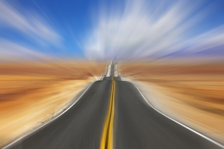 celerity: Hot day in desert. A Mirage on high speed Stock Photo