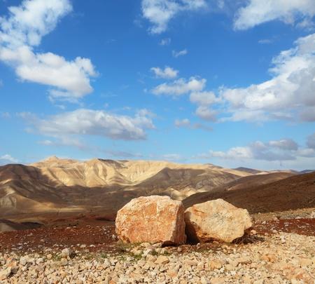 judean desert: Magnificent transparent day in Judean desert. Huge boulders along highway, an unflawed sky