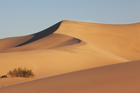 duna: El famoso Valle de la muerte en California. Dunas de arena son espectacular amanecer de oro