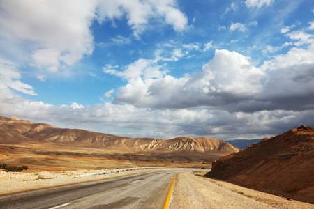 Deserted road. Wonderful winter day in the Judean desert.