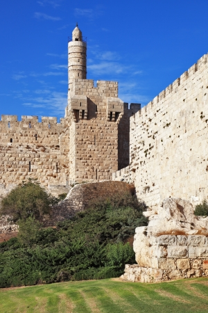 The walls of the eternal Jerusalem. The sunset gently illuminates the ancient walls and Tower of David photo
