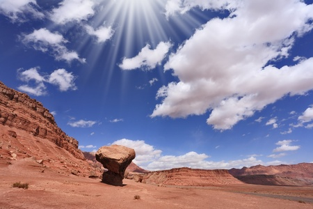 giant mushroom: American desert. The famous giant mushroom of red sandstone and the dazzling midday sun