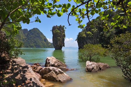 The magnificent island of James Bond. Island-vase in shallow lagoon of the southern seas. Thailand  photo