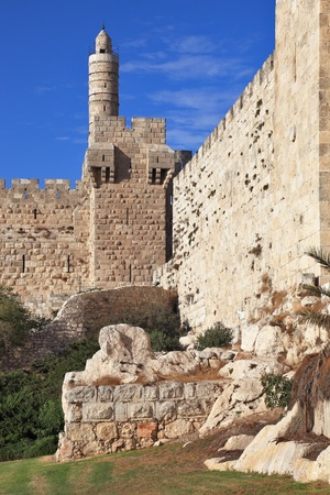 The walls of the eternal Jerusalem. The sunset gently illuminates the ancient walls and Tower of David