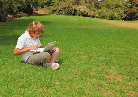 The beautiful boy with gold hair  played on laptop on a lawn in a city park photo