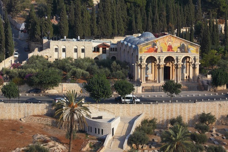 mount of olives: Mount of Olives in Jerusalem. The Church of all peoples, and centuries-old cypress road   Editorial