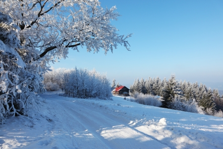 Winter morning in the mountains. Snow-covered road and a small country house with red roof photo
