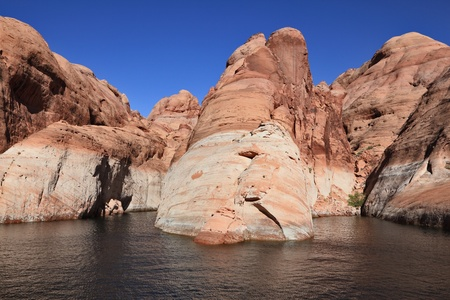 arisen: The artificial lake Powell which has arisen in flood of the river Colorado on the earths of an American Indian reservation. Magnificent and picturesque lake Powell.