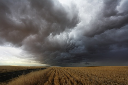 extreme weather: Huge thundercloud on fields of Montana