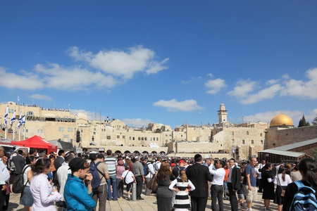 Jerusalem - October 16: The Holy Western Wall of the Temple. Thousands of Jews had gathered for morning prayers at Sukkot October 16, 2011 in Jerusalem, Israel