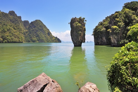The magnificent island of James Bond. Island-vase in the greenish water of the southern seas. Thailand  photo