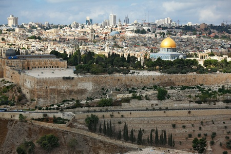 omar: Magnificent panorama of Jerusalem. Dome of the Rock, Omar Mosque and the Dome of the Holy Sepulcher Stock Photo