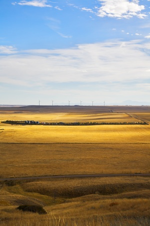 The American prairie in October. The American road and wind-driven generators on horizon photo