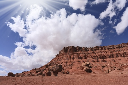 giant mushroom: The famous giant  mushroom  of red sandstone and the dazzling midday sun  American red desert   Stock Photo