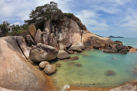 Picturesque coastal cliffs and azure sea. Koh Samui photo