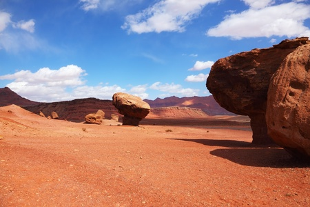 Giant stone  mushroom  effect of weathering in the red desert of the Colorado River Valley Stock Photo - 13409499