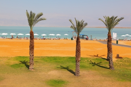 Medical beach luxury hotel at the Dead Sea in Israel. Sunny spring day photo